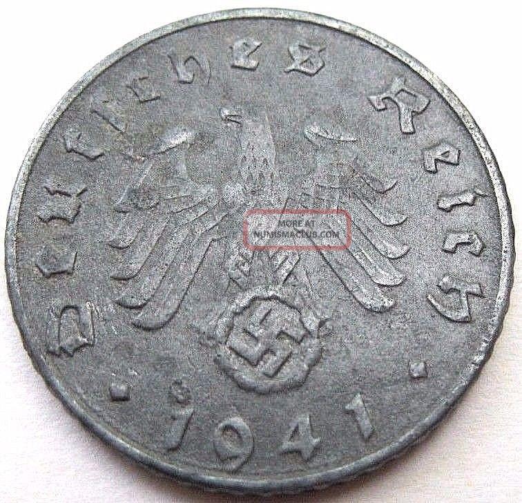 Ww2 German 1941 - D 5rp Reichspfennig 3rd Reich Zinc Nazi Coin
