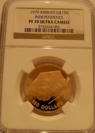 Kiribati 1979 Gold $150 Ngc Pf - 70uc Independence photo