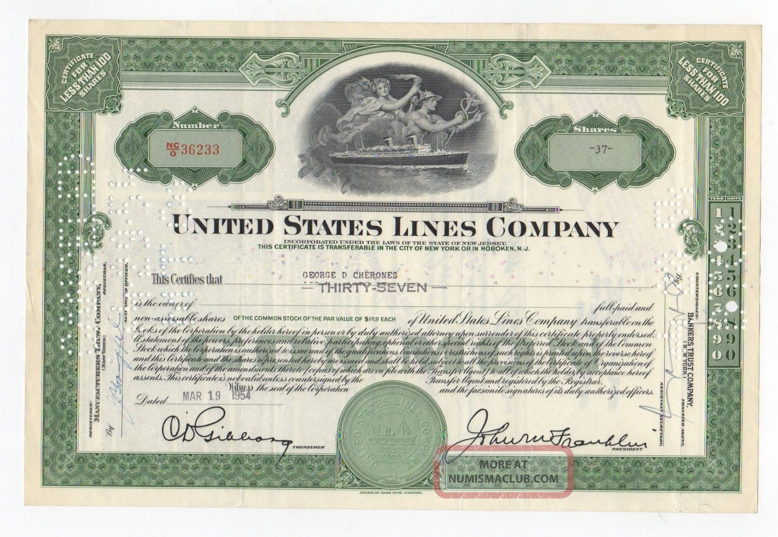 United States Lines Company Stock Certificate Transportation photo