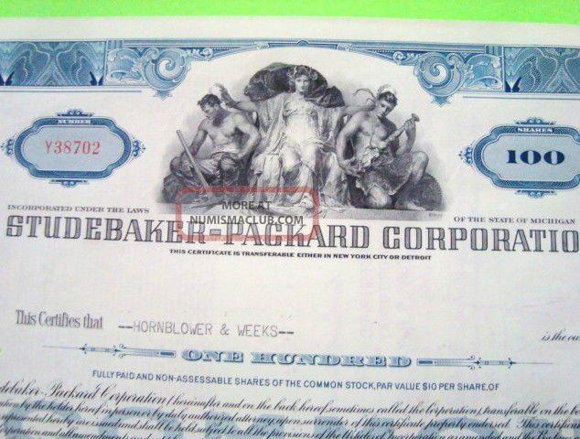 1950 ' S Studebaker Packard Stock Certificate Blue 100 - Shares Cancelled Transportation photo