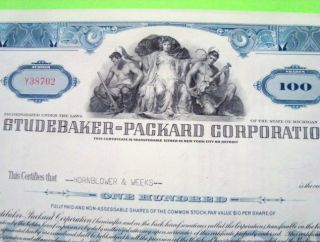 1950 ' S Studebaker Packard Stock Certificate Blue 100 - Shares Cancelled photo