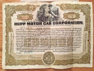 Hupp Motor Car Corp Common Stock Certificate 1929 Depression Era Hupmobile photo