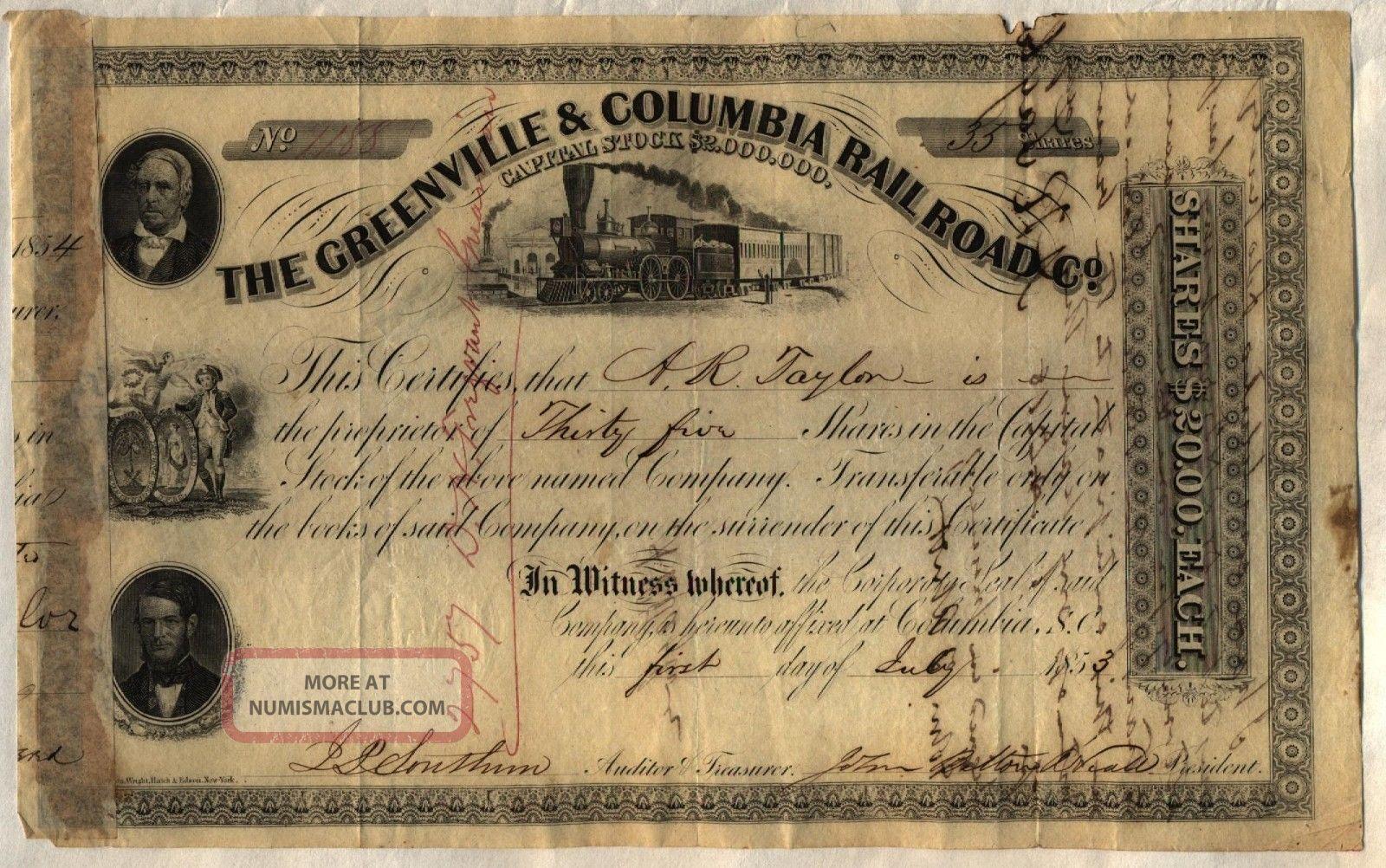 1853 Greenville & Coumbia Railroad Co.  Stock Certificate South Carolina Transportation photo