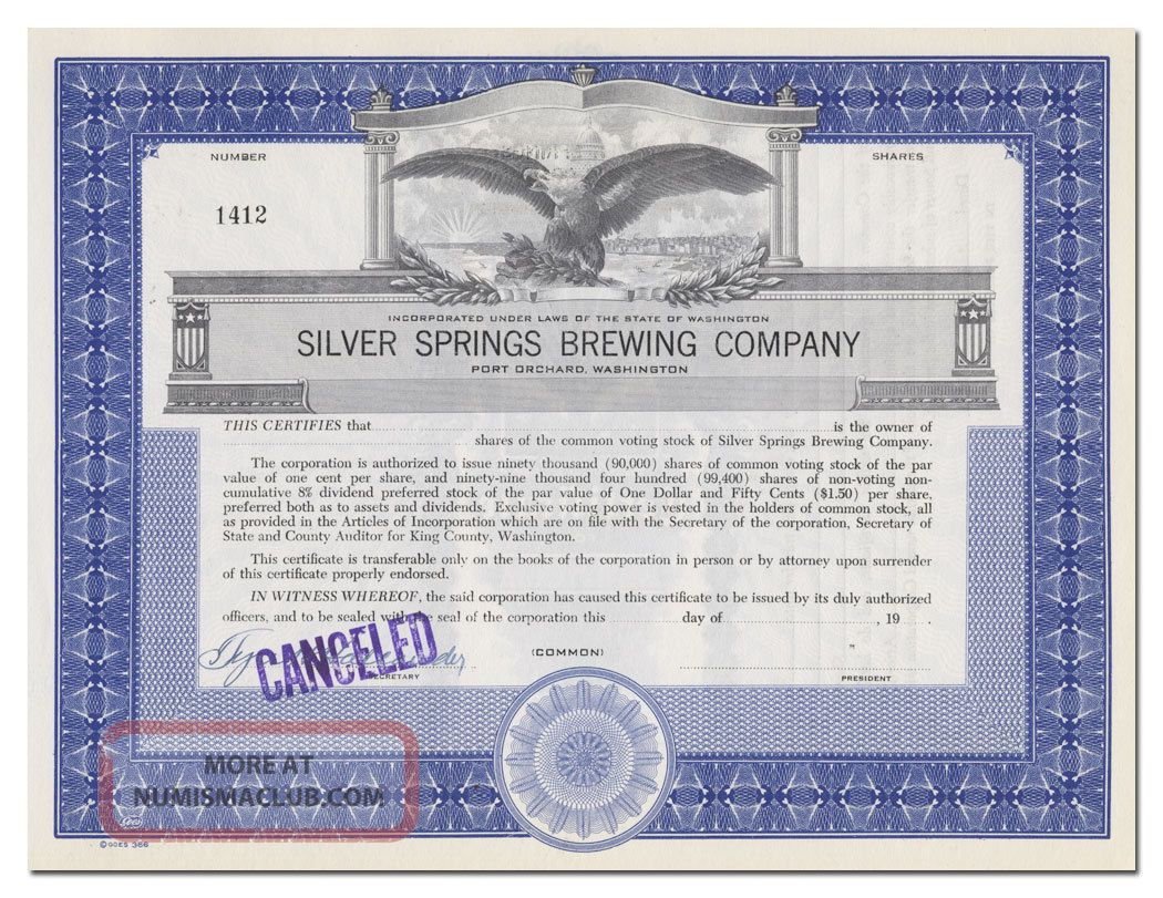 Silver Spring Brewing Company Stock Certificate (port Orchard,  Washington) Stocks & Bonds, Scripophily photo