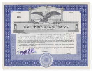 Silver Spring Brewing Company Stock Certificate (port Orchard,  Washington) photo