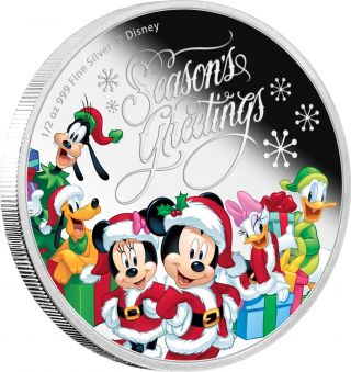 Niue Disney $1 Dollar 1/2 Oz.  Silver Proof Coin,  2016 Season ' S Greetings photo