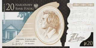 20 Zloty 200th Anniversary Of Frederic Chopin Birth Commemorative Banknote photo