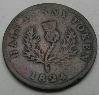 Canada (nova Scotia) Halfpenny Token 1824 - Copper 3315 photo
