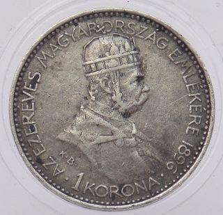 1896 Hungary 1 Korona.  835 Silver Commemorative Coin Magyar Millennium (3717) photo