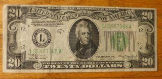 1934 A $20 Twenty Dollar Federal Reserve Note Green Seal San Francisco photo