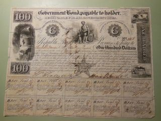 1841 $100 Government Bond Republic Of Texas Certificate - David G.  Burnet Sign photo