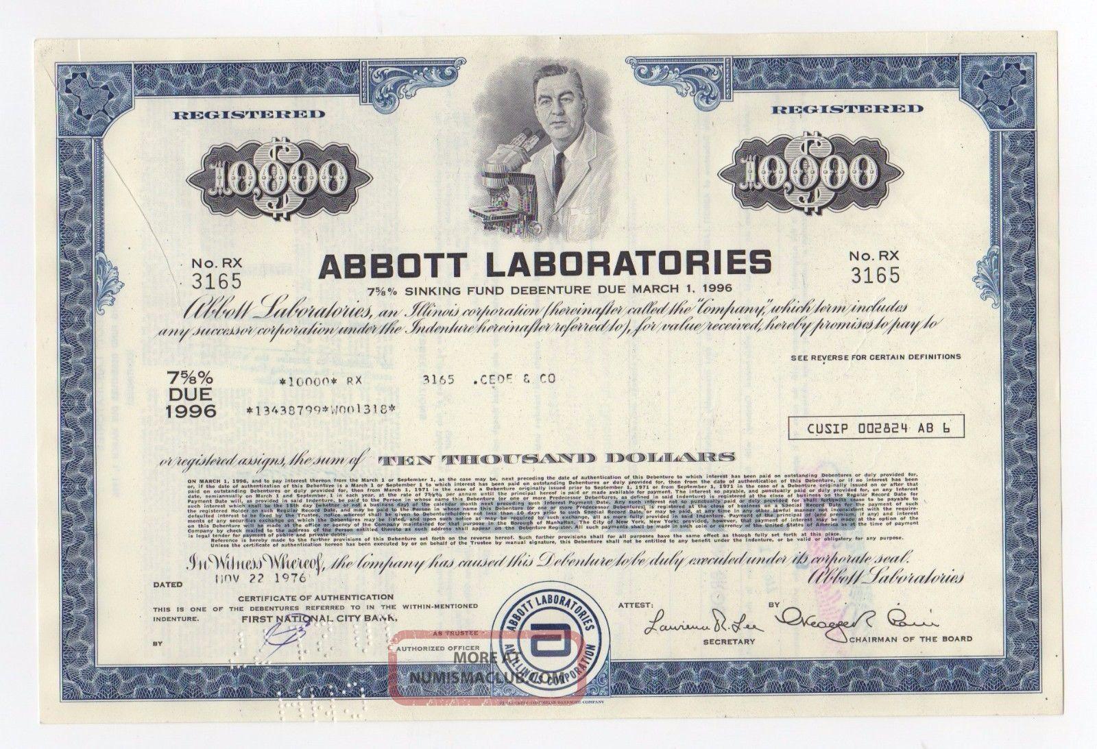Abbott Laboratories Stock Certificate Stocks & Bonds, Scripophily photo