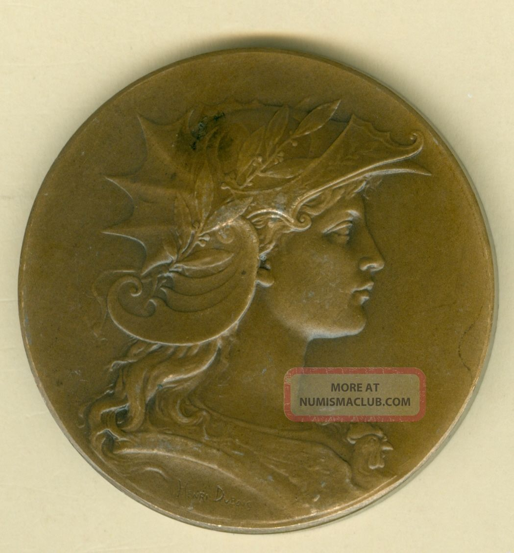 1910 French Medal Issued For The Academy Of Jeux Floraux At Cherbourg By Dubois