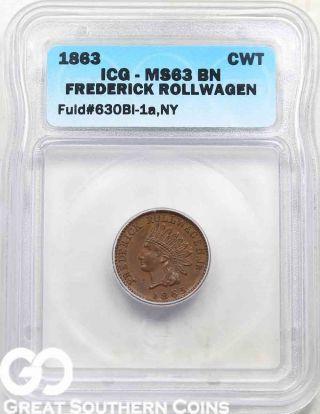 1863 Icg Civil War Token,  Fuld 630bl - 1a,  Ny,  Icg Ms 63 Bn photo