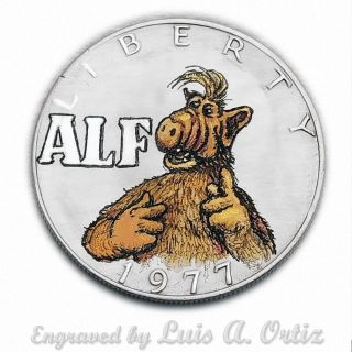 Alf S871 Ike Hobo Nickel Engraved & Colored By Luis A Ortiz photo