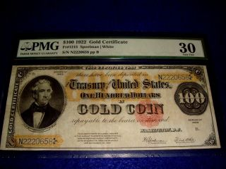 1922 $100 Gold Certificate Fr 1215 Pmg 30 Vf photo