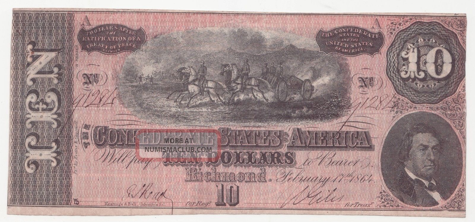 1864 Confederate States Of America Ten Dollar Bill $10 Us Currency T - 68 Richmond Paper Money: US photo