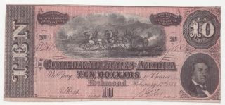 1864 Confederate States Of America Ten Dollar Bill $10 Us Currency T - 68 Richmond photo
