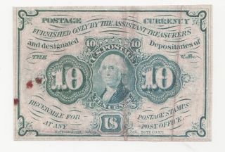 1862 Postage Currency 10 Cent Fractional Currency Bill photo