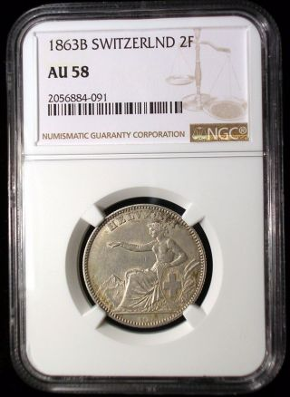 Switzerland 1863 2 Francs Ngc Au - 58 Rare Low Mintage Key Date Low Minimum photo