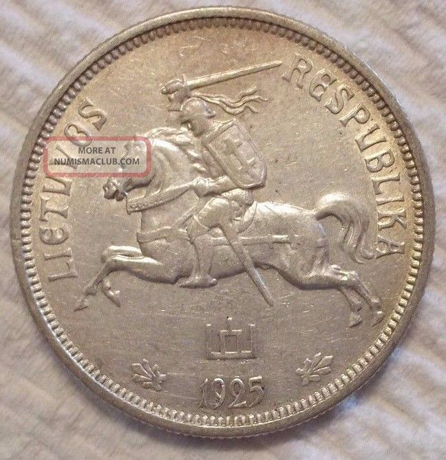 1925 Lithuania 5 Litai Km 78.  500 Silver Coin Estonia/ Latvia/ Lithuania photo