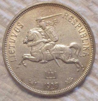 1925 Lithuania 5 Litai Km 78.  500 Silver Coin photo
