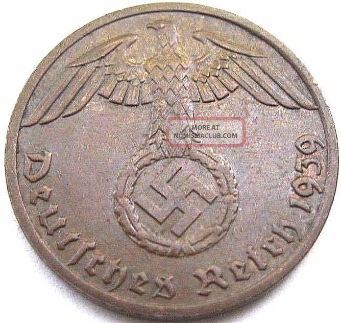 German 3rd Reich 1939 Reichspfennig Coin