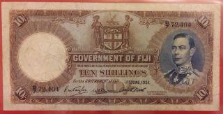 Fiji 1951 King G.  Vi 10 Shillings Note photo