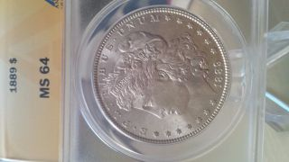 1889 P Morgan Silver Dollar Anacs Ms 64 Wow Great Details photo