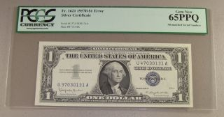 1957b $1 Silver Certificate U37/u47 Mismatched Serial Numbers Error Pcgs 65ppq photo
