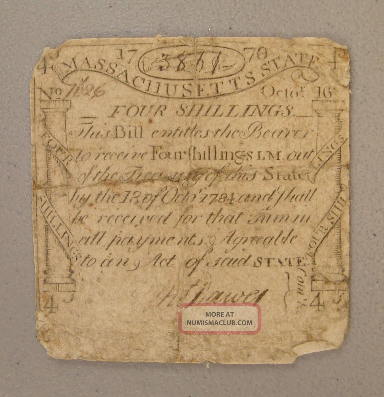 1778 Massachusetts 4s Paul Revere Engraved & Printed Codfish Colonial Note Vg Paper Money: US photo