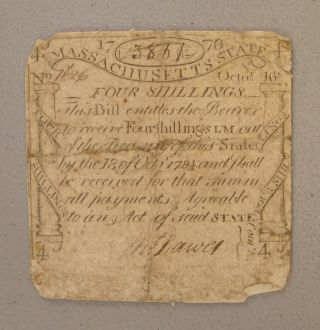 1778 Massachusetts 4s Paul Revere Engraved & Printed Codfish Colonial Note Vg photo