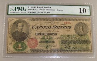 1862 Large Size $1 Legal Tender Note Pmg Very Good 10 Net photo