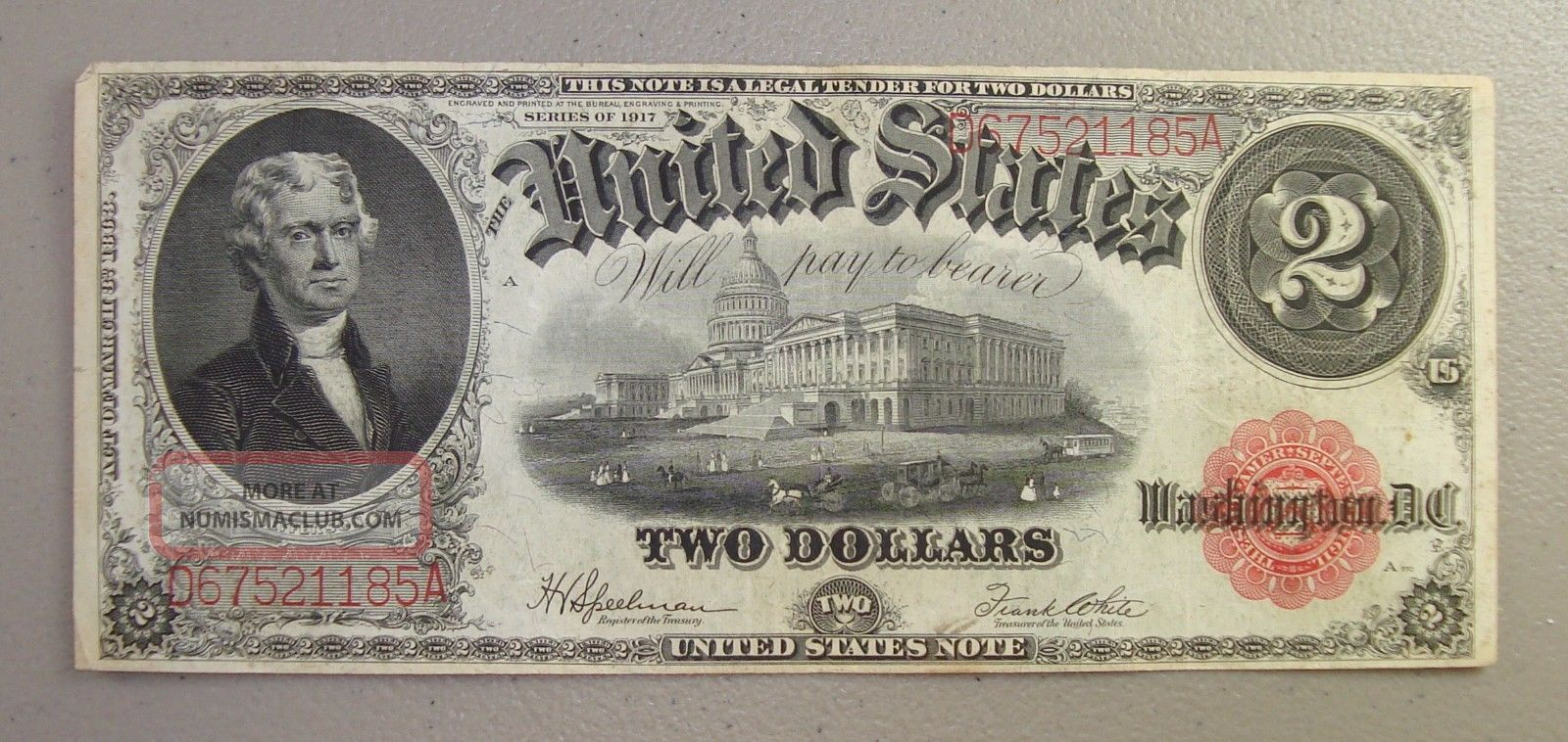 1917 Large Size $2 Legal Tender Note Vf Large Size Notes photo