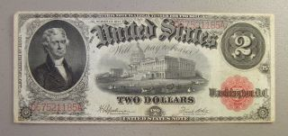 1917 Large Size $2 Legal Tender Note Vf photo