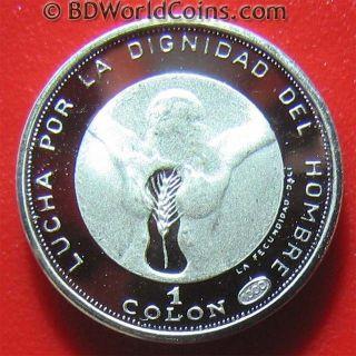 1971 El Salvador 1 Colon Silver Proof Dali Woman Image Rare Art Coin 15.  7mm photo