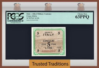 Tt Pk M18b 1943 Italy Allied Military Currency 5 Lire Pcgs 63 Ppq Choice photo