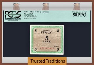 Tt Pk M12a 1943 Italy Allied Military Currency 5 Lire Pcgs 58 Ppq Choice About photo