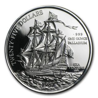 1987 Bermuda 1 Oz Palladium Sea Venture Proof (w/box &) - Sku 85735 photo