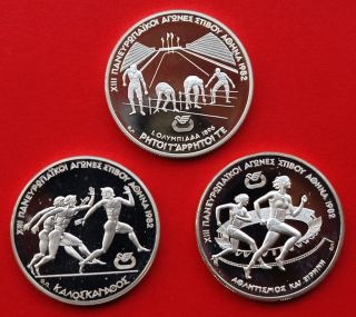 Greece Silver 3 X 500 Drachmas 1982 Athens European Games photo