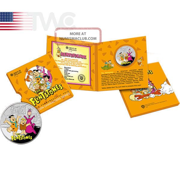 Niue 2014 1$ Flintstones Cartoon Characters Proof Silver Coin