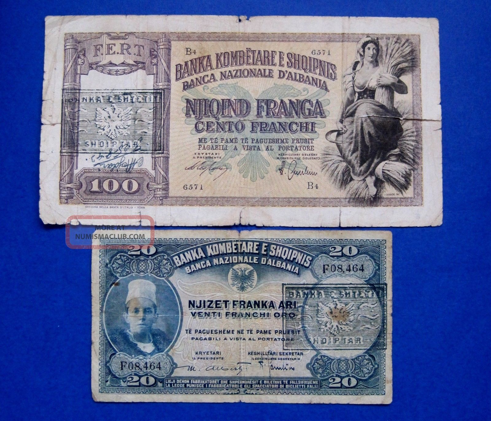 1945 Albania Banknote Franka Ar 100 Franga 2 Pc Europe photo