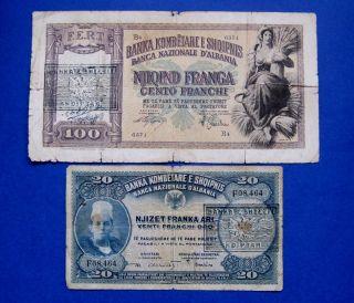 1945 Albania Banknote Franka Ar 100 Franga 2 Pc photo