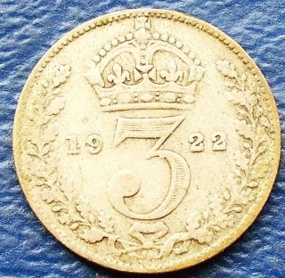 Silver 1922 Great Britain 3 Pence George V Toned Circulated Rb 8 photo