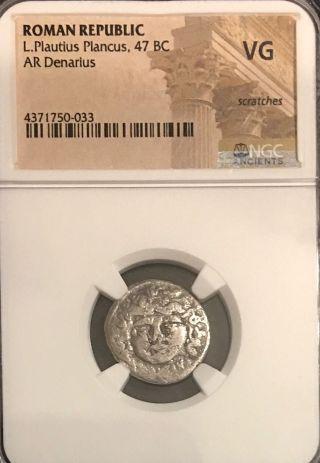Plautius Plancus 47bc Ancient Roman Silver Denarius Ngc Certified Medusa 3.  46g photo