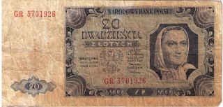 Poland Paper Money Banknote 20 Zlotych Polska 1948 P - 137a F photo