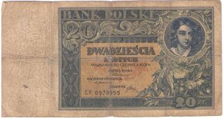 Poland Paper Money Banknote 20 Zlotych Polska 1931 P - 73 Vg photo
