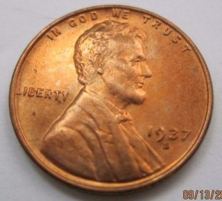 1937s Ch Gem Bu Red L776 Lincoln Wheat Cent photo