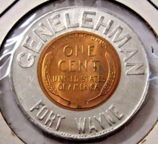 Gem Bu Genelehman 1957 D Encased Cent Lucky Penny Earl Fankhauser Fort Wayne photo