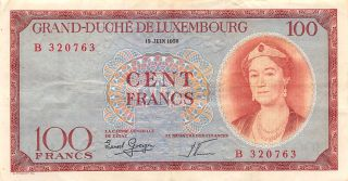 Luxembourg 100 Francs 15.  6.  1956 Series B Circulated Banknote E22s photo
